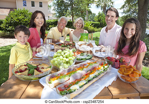Parents Grandparents Children Family Healthy Eating Outside - csp23487254