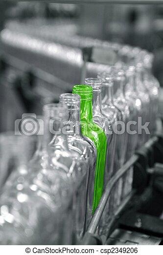 不同, 工廠, 綠色, 瓶子, 線, 唯一 - ... 瓶子, 在, a, 工廠, 線, 一,