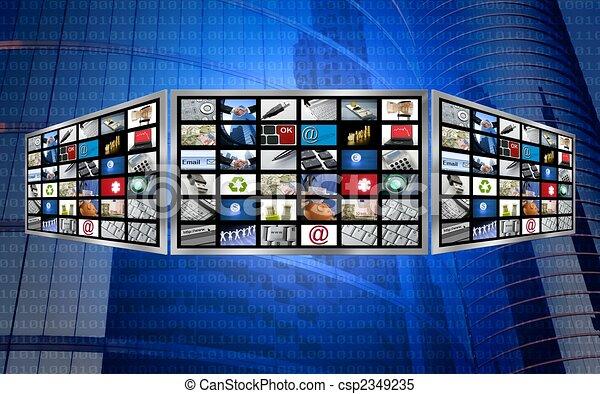 Global 3d screen television multimedia tech concept - csp2349235