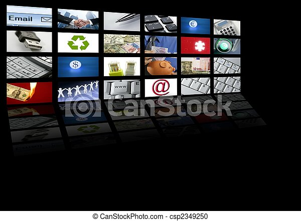 TV, signaltjänst, avskärma,  video, teknologi - csp2349250