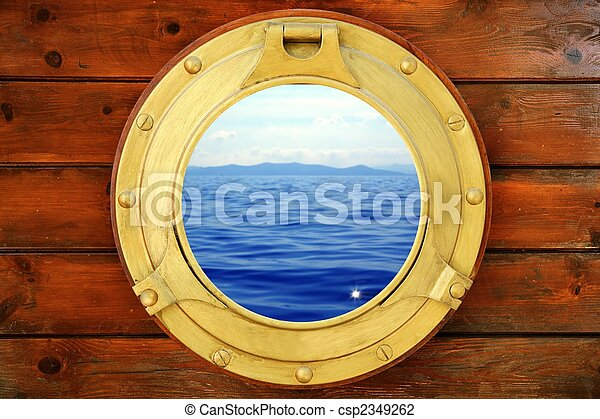 Boat closed porthole with vacation seascape view - csp2349262