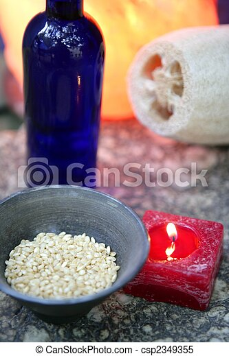 Aromatherapy, red candle, marine natural sponge - csp2349355