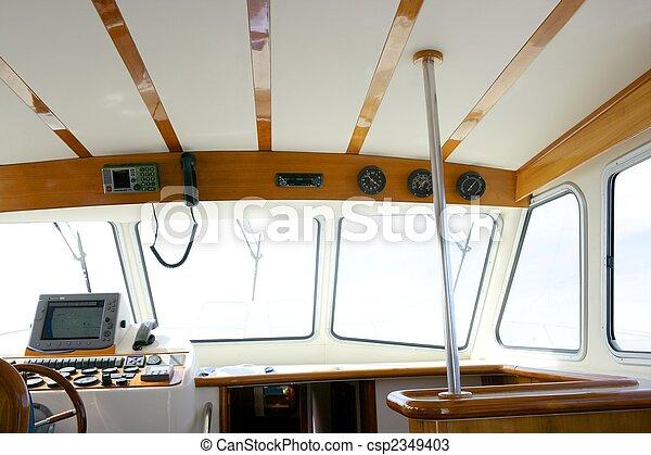 Peche, gentil, bateau, blanc, bois, intérieur, rétroéclairage