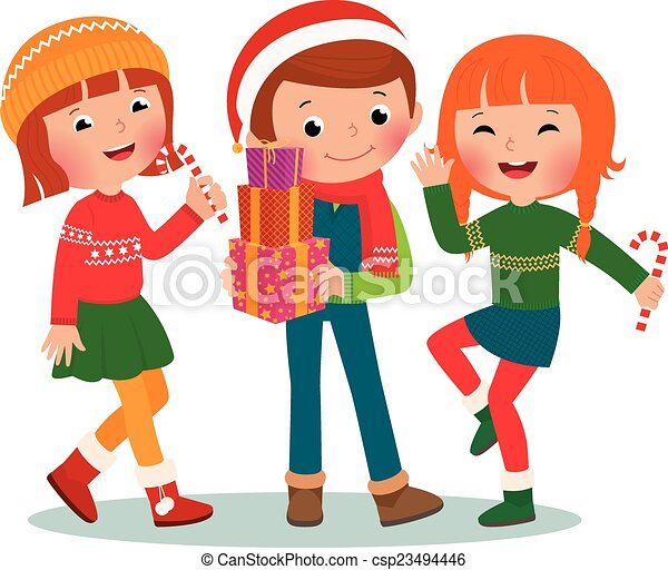 EPS Vector of Children Christmas Party - Children make merry at ...