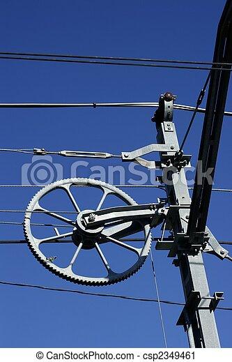 Electric railway steel infrastructure over blue sky - csp2349461
