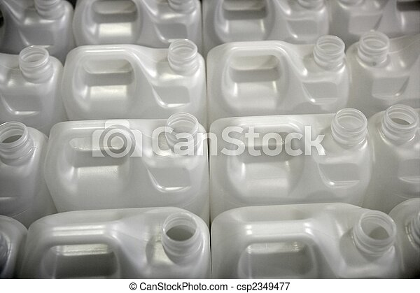 Bottles in factory rows, white plastic - csp2349477