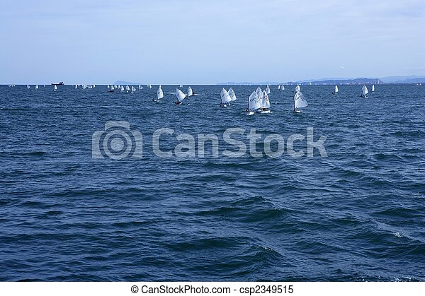 Optimist, recreation little sailboat regatta, Spain - csp2349515