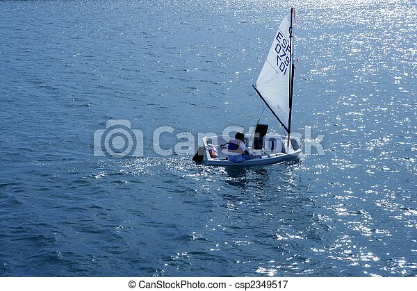 Optimist, recreation little sailboat regatta, Spain - csp2349517