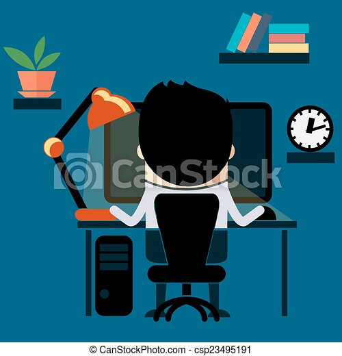 EPS Vectors Of Man Sitting On Chair At Table Front Of