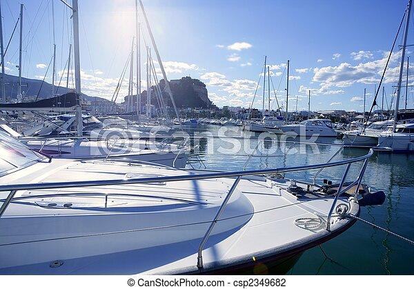 Beautiful marina, sailboats and motorboats - csp2349682