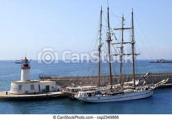 Ibiza harbor from balearic islands in Spain - csp2349886
