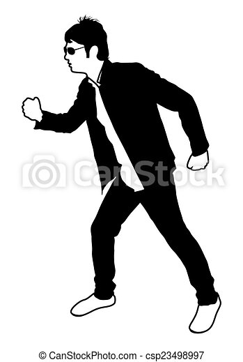 Clipart Vector of Walking Man Silhouette - A walking man ...