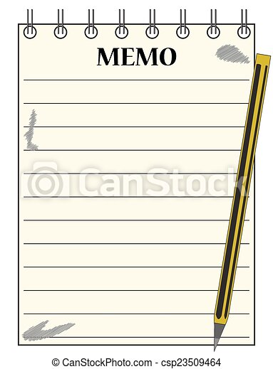Clip Art Vector of Lined Memo Notepad With Pencil - A lined memo blank notepad csp23509464