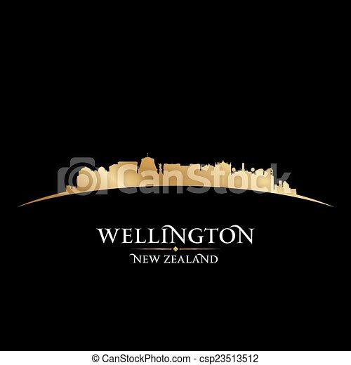 Vector - Wellington New Zealand city skyline silhouette black background