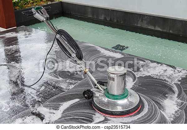 Thai people cleaning black granite floor with machine and chemic - csp23515734