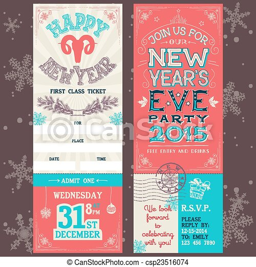 ... Year's Eve party invitation hand-lettering ticket pass design template