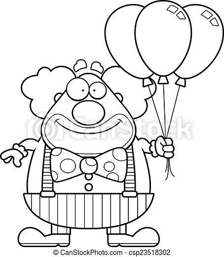 矢量-卡通漫画, 小丑, 气球
