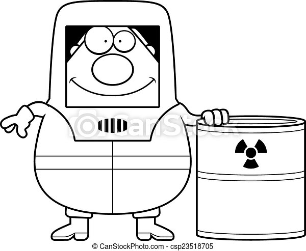 Vector Clipart of Cartoon Hazmat Waste - A cartoon illustration of ...