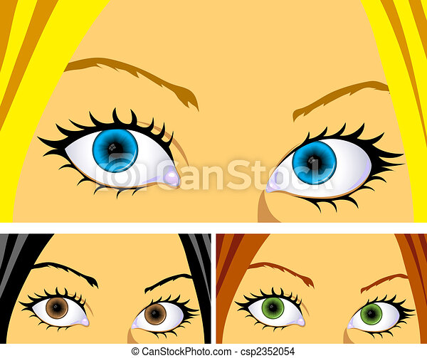 colourful eyes and hair  - csp2352054