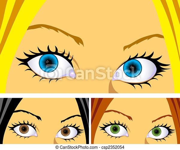 colourful eyes and hair  - csp2352054