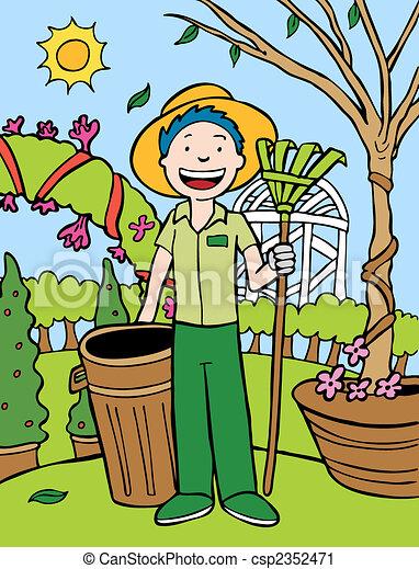 clip art vecteur de dessin anim jardinier gardener cartoon dehors dans csp2352471. Black Bedroom Furniture Sets. Home Design Ideas