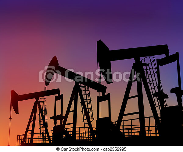 Three oil wells in the desert at dusk - csp2352995