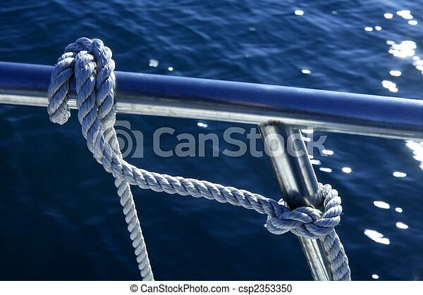 Marine fender knot around boat lee - csp2353350