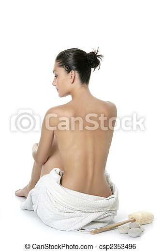 Nude sit woman back with white towel - csp2353496
