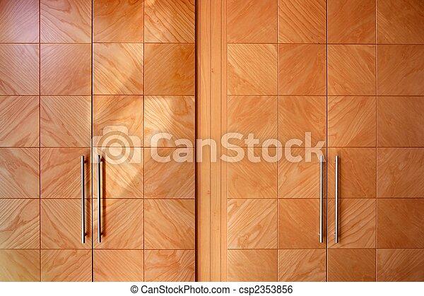 Wooden office modern closet orange doors - csp2353856