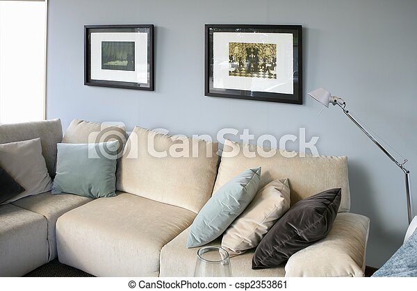 Living room with sofa and blue wall, interior design - csp2353861