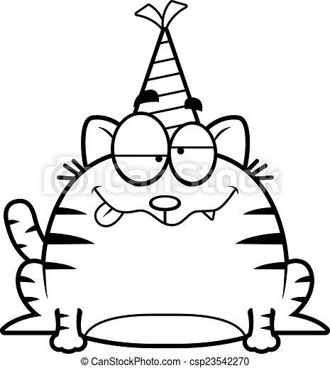 Vector , fiesta, gato, caricatura, borracho