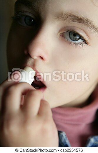 toddler girl and coconut oil lipstick portrait - csp2354576