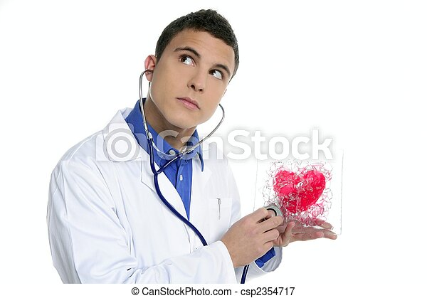 Doctor test a red heart health, young man - csp2354717