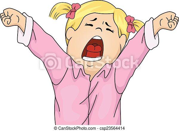 Vector Clip Art de Bostezo, bedtime - Ilustración, Feature ... Yawning Girl Cartoon