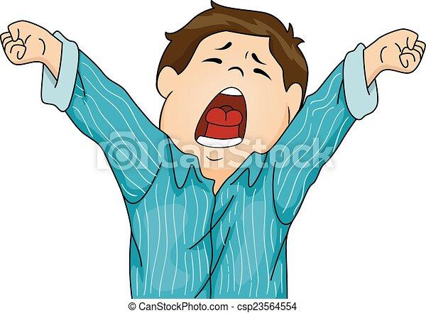 Clipart Vector Of Yawning Boy In Pajamas Illustration