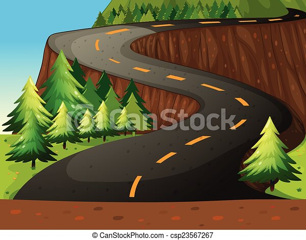 Clip Art Vector of Road - Winding road with forest nature theme ...