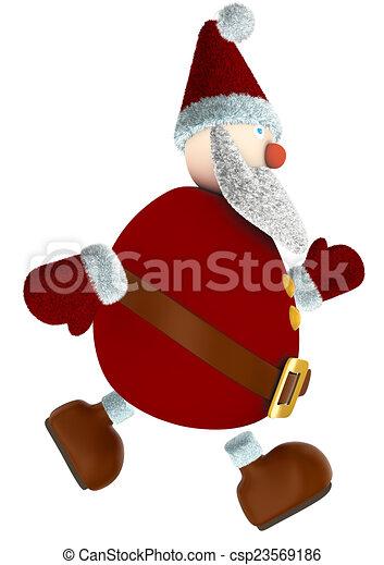 runnind 3D Santa Claus - csp23569186