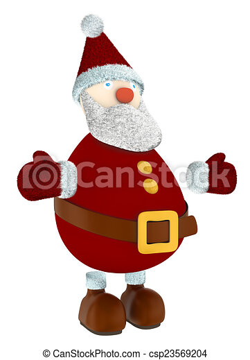 3D Santa Claus standing - csp23569204