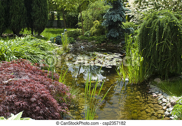 peaceful garden. summertime - csp2357182