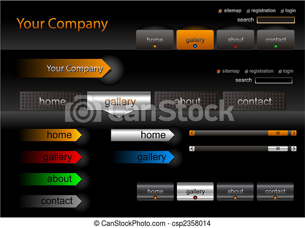 Metallic editable website buttons - csp2358014