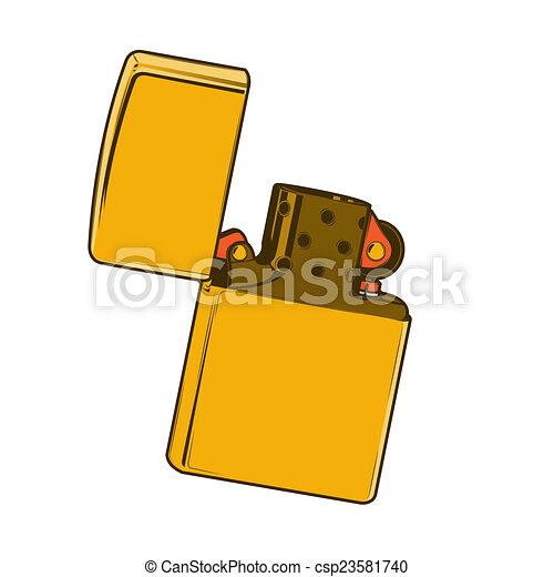 White Lighter Drawing Golden Zippo Lighter