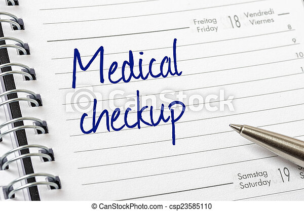 Medical checkup written on a calendar page