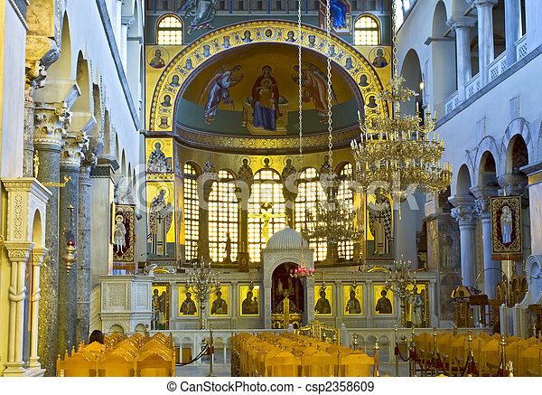 Greek orthodox church interior, Saint Dimitrios of Thessaloniki  - csp2358609
