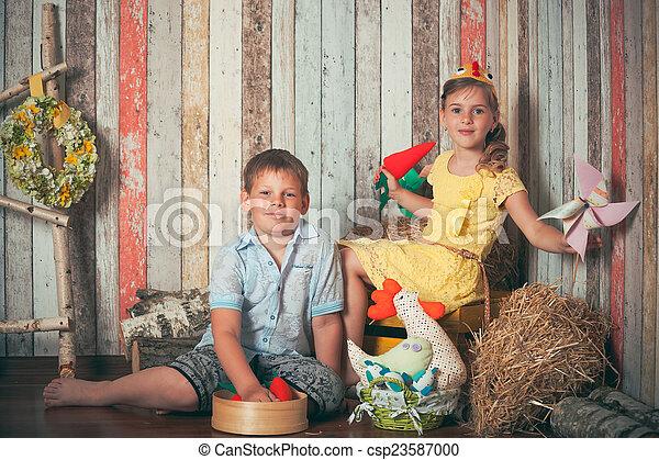 filhos jovens, tocando, brinquedos - csp23587000