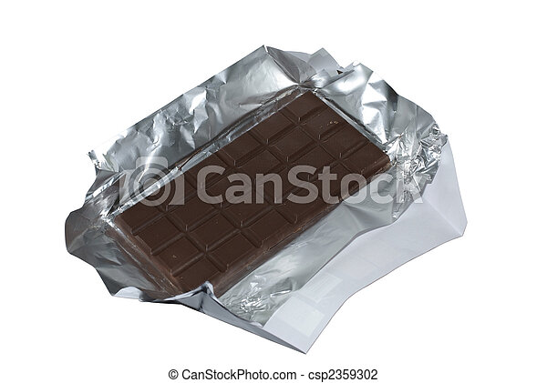 Milk chocolate with foil and wrapper isolated on white background. Clipping path. - csp2359302