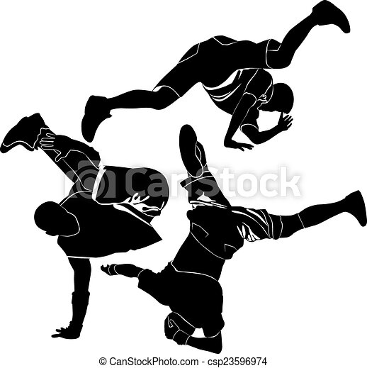 Vector Clip Art of break-dance silhouette set - Collection of ...