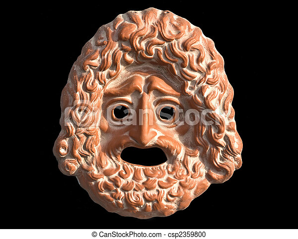 Mask used from actors on greek ancient tragedy performances - csp2359800