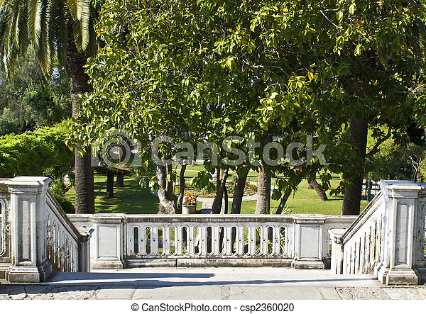 Old palace in Greece with garden in front of a veranda made by marble - csp2360020