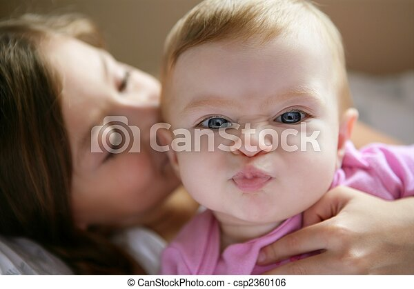 baby girl with funny expression in face - csp2360106