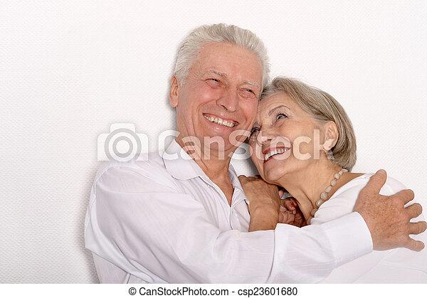 Happy older pair